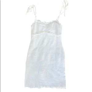 BOUJEE White rouched smocked body-con dress
